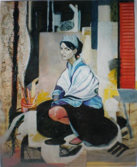 Mujer agachada con toquilla