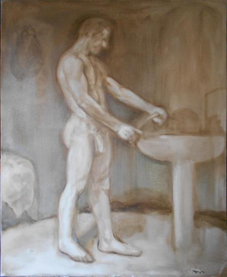 Hombre lavándose